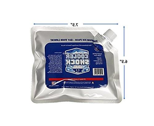 Set of 5 Cooler Shock lunch bag size ice packs high performance 18 degree Fahrenheit using phase change science to achieve 8-10 hour cooling avoid spoilage so you can eat your lunch!
