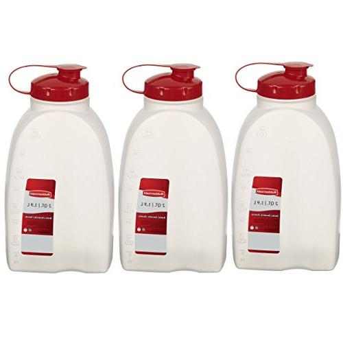 Rubbermaid Servin Saver White Bottle Plastic 2 Qt/1.9 Liter