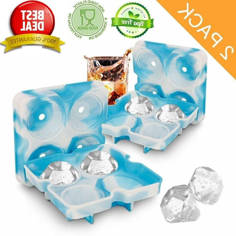 SILICONE ICE CUBE TRAYS 2 Pack Diamond Shaped Stackable Easy