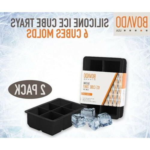 Silicone Ice Cube Trays 6 Cube Easy Release Mold Bovado Black,2-Pack