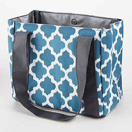 Fit & Fresh Women's Venice Lunch with Ice Pack, Stylish Adult Lunch Bag for Work Ikat Tile