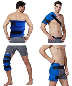 Large Flexible Gel Ice Pack & Wrap with Elastic Straps for H