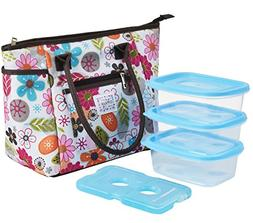 Lunch Bag Set by Dimayar Lunch Tote with Ice Pack and 3 Piec