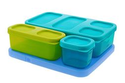 Rubbermaid LunchBlox Kid's Flat Lunch Box Kit, Blue/Green