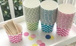 Pack of 25- 16oz Polka Dot Ice Cream Cups Bowls Container Pi