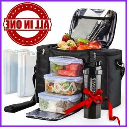 Meal Prep Lunch Bag / Box For Men, Women + 3 Large Food Cont