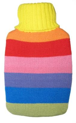 Warm Tradition Rainbow Stripes Knit Covered Hot Water Bottle
