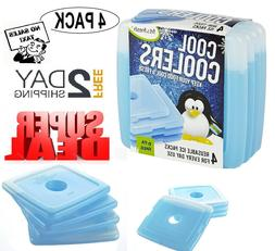 Set 4 Cool Coolers Slim Reusable Ice Packs Lunch Boxes Bags
