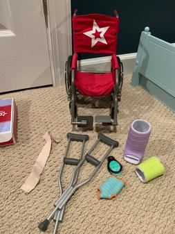 american girl wheel chair, crutches, bandage, cast, and ice